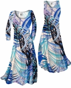 SALE! Aqua Blue Tropical Brushstrokes Slinky Print Plus Size & Supersize Standard or Cascading A-Line or Princess Cut Dresses 1x