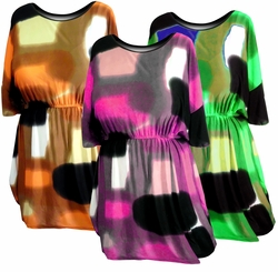 SALE! Aqua - Pink - Rust - Plus Size Slinky Tops 1x 3x