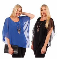 SALE! Asymmetrical Layered Chiffon Top With Goldstyle Accent Necklace  Plus Size  4x 5x 6x