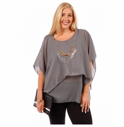 SALE! Asymmetrical Layered Chiffon Top with Necklace  Plus Size  4x 5x 6x