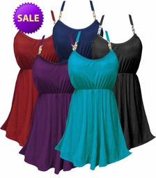 SALE! Solid Color Plus Size Babydoll Style Swim Tank & Bottoms Set in Many Colors Solid Black Turquoise Purple Navy Dark Red 3x