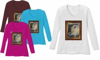 SALE! Ballerina Girl Painting V Neck / Round Neck Long Sleeve Plus Size Shirt White Teal Raspberry Brown Teal Lime Wine 4x 5x
