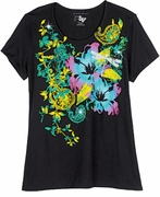 FINAL SALE! Just Reduced! Beautiful Black Graphic Dragonfly Floral Print Glittery Plus Size T-Shirt 4x 5x