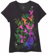 FINAL SALE! Just Reduced! Beautiful Black Green Pink Graphic Bird Print Glittery Plus Size T-Shirt  3x 4x