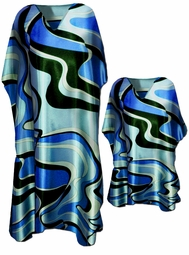 SALE! Beautiful Blue Swirls Caftan Dresses & Shirts - Fits 1x to 7x