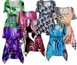 SALE! Beautiful Colorful Slinky Print Supersize & Plus Size Babydoll Tops 0x 2x 4x 6x 8x