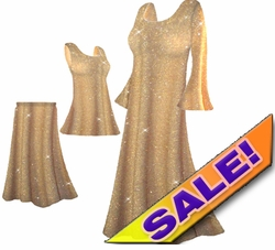 SALE! Beautiful Golden Tan & Gold Glittery Plus Size & Supersize Dresses, Shirts & Pants XL 0X 1X 3X 7X
