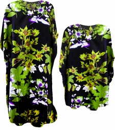 SALE! Beautiful Green & Black Print Poly/Satin Plus Size & Supersize Caftan Dress or Shirt 1x to 6x