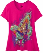 FINAL SALE! Just Reduced! Beautiful Hot Pink Magenta Graphic Butterfly Print Glittery Plus Size T-Shirt 4x 5x