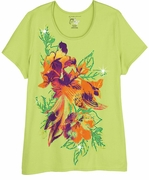 FINAL SALE! Just Reduced! Beautiful Lime Green Graphic Hibiscus Floral Print Glittery Plus Size T-Shirt 4x 5x