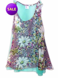 SALE! Beautiful Minty Blue & Pink Floral Print Semi Sheer A-Line Overshirt Supersize & Plus Size Tops 0x