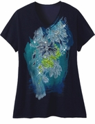 FINAL SALE! Just Reduced! Beautiful Navy Graphic Floral Print Glittery Plus Size T-Shirt 4x