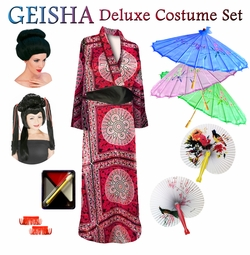 SOLD OUT! SALE! Beautiful Oriental Print Geisha Costume Plus Size & Supersize 0x to 9x