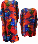 SALE! Beautiful Red & Blue Floral Print Poly/Satin Plus Size & Supersize Caftan Dress or Shirt 1x to 6x