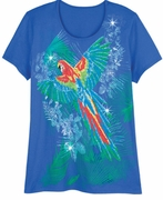 FINAL SALE! Just Reduced! Beautiful Royal Blue Graphic Parrot Floral Print Glittery Plus Size T-Shirt 4x 5x