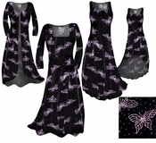 SALE!  Beautiful Sparkly Black & Lavender Glittery Butterfly Smooth Velvet Plus Size & Supersize Dress or Jacket 3x