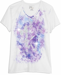 SOLD OUT! SALE! Just Reduced! Beautiful Sparkly White Graphic Butterfly Print Glittery Plus Size T-Shirt 4x 5x