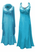 SALE! Beautiful Turquoise Glittery Satin 2 Piece Plus Size SuperSize Princess Seam Dress Set 4x 6x 7x