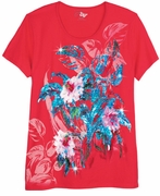 FINAL SALE! Just Reduced! Beautiful Watermelon Red Graphic Floral Print Glittery Plus Size T-Shirt 4x 5x