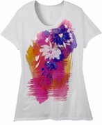 FINAL SALE! Just Reduced! Beautiful White Pink Blue Graphic Floral Print Glittery Plus Size T-Shirt 4x 5x