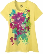 FINAL SALE! Just Reduced! Beautiful Yellow Graphic Floral Print Glittery Plus Size T-Shirt 4x 5x