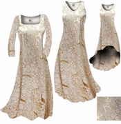 SALE! Beige & Gold Metallic Shiny Slinky Print Plus Size & Supersize A-Line or Princess Cut Dresses & Shirts 3x 4x