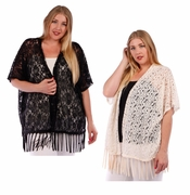 SOLD OUT! SALE! Beige or Black Plus Size Lace Fringe Cardigan Jacket 4x