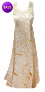 SALE! Beige With Gold Metallic Shiny Slinky Print Princess Cut Round Neckline Slinky Plus Size Tank Dress 2x 3x 4x