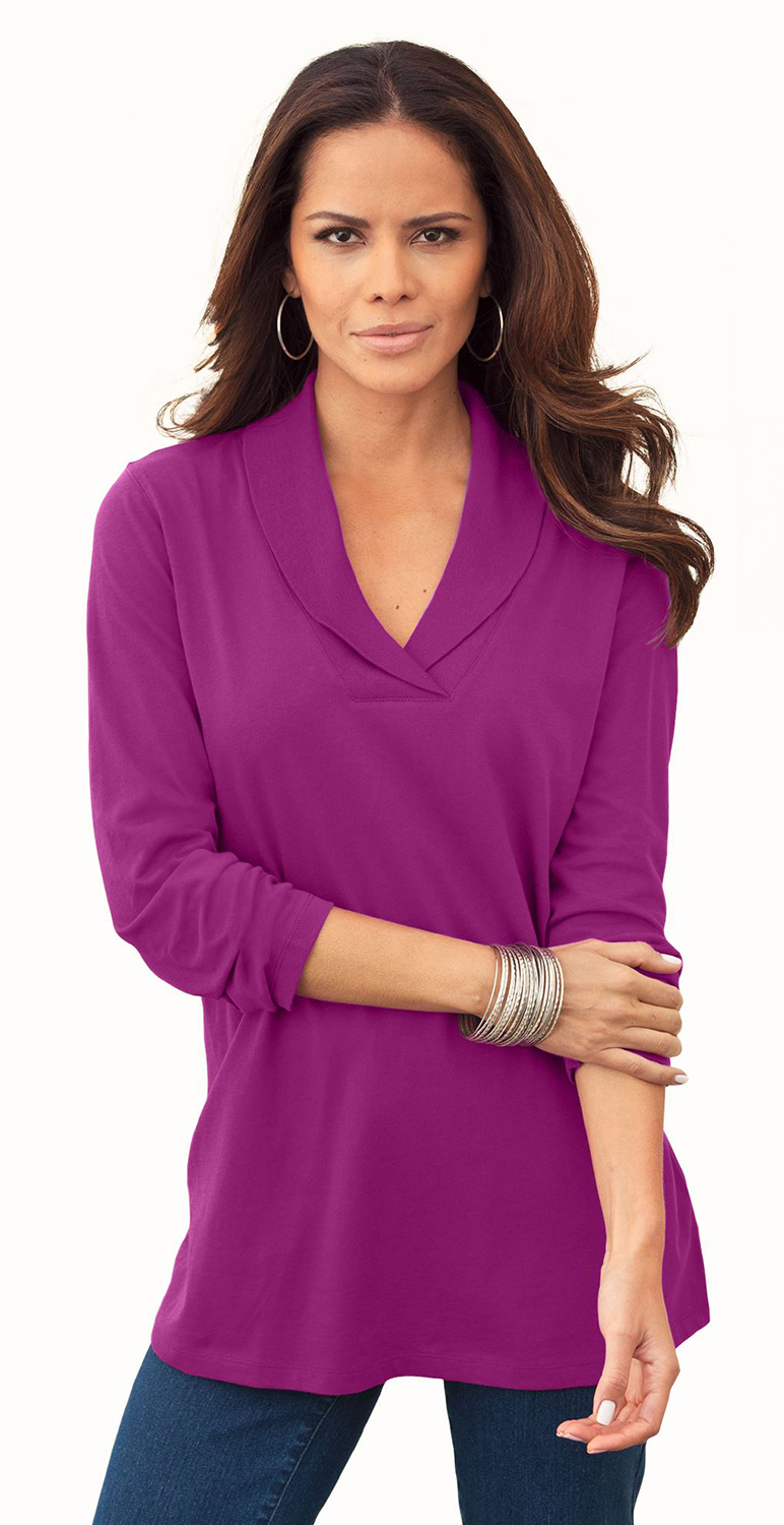 SOLD OUT! SALE! Berry Pink Shawl Collar Plus Size Tee 4x