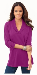 SALE! Berry Pink Shawl Collar Plus Size Tee 4x