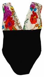SALE! Black Bottom White Floral Top 1 Piece Plus Size Supersize One Piece Swimsuit 3x