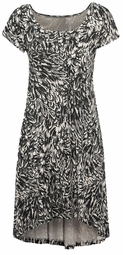 SOLD OUT! Black & Cream Print High Low Plus Size Knit Dress