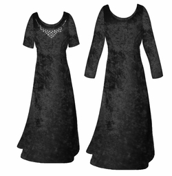 SALE! Black Crush Velvet Plus Size & Supersize Sleeve Dress LG 1x 3x 4x 5x 6x