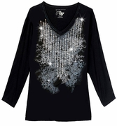 SALE! Just Reduced! Sparkly Silver & Black Diamond Lines Glittery Plus Size Long Sleeve T-Shirt 4x + Add Gold!