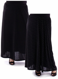 SALE! Black Dots or Black Diagonal Stripe Dots Long Plus Size Skirts! 4x 5x 6x