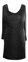 SALE! Black Drape Neckline Plus-Size Slinky Top 2x