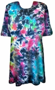 SALE! Cloudy Tropical Sky Black, Hot Pink, Green, Blue Tie Dye Plus Size Long T-Shirt XL 2x 3x 4x 5x 6x