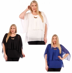 SALE! Black, Ivory or Blue Plus Size Layered Chiffon Top 4x 5x 6x