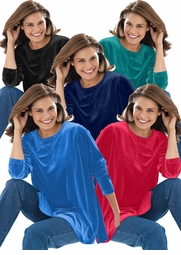 SALE! Black, Navy, Cobalt Blue, Red, or Jade Green Yummy Soft Plus Size Velvety Velour Tunic Top 4x 5x