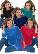SALE! Black, Navy, Cobalt Blue, Red, or Jade Green Yummy Soft Plus Size Velvety Velour Tunic Top 5x