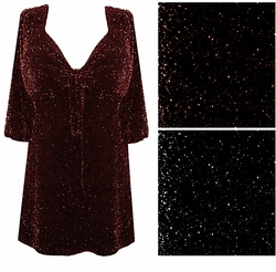 SALE! Black With Black Glimmer or Black With Red Glimmer Tie Babydoll Shirt Plus Size & Supersize 4x