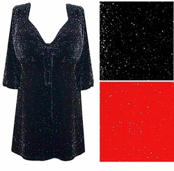 SALE! Black or Red Glimmer Tie Babydoll Shirt Plus Size & Supersize Lg to 8x