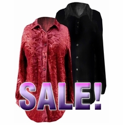 FINAL SALE! Black or Red Velvet Button-Down Plus Size Blouses 1x 2x 3x 4x