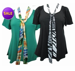 FINAL SALE! Just Reduced! Sea Green or Black Plus Size Slinky Tops with Tie! 4x 5x
