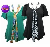 SOLD OUT! Just Reduced! Sea Green or Black Plus Size Slinky Tops with Tie! 6x