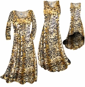 SOLD OUT! SALE! Black Ornate With Gold Metallic Slinky Print Plus Size & Supersize Dress 3x
