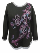 SALE! Black Paisley Glittery Long Sleeve Plus Size Shirt 2x 3x 4x