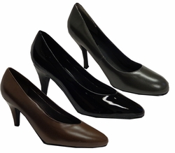 SALE! Black Patent Leather Shiny or Brown or Royal Blue Satin Heel Pump Shoes Wide Width Size 9W,