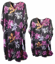 SALE! Black & Pink Floral Print Poly/Satin Plus Size & Supersize Caftan Dress or Shirt 1x to 6x