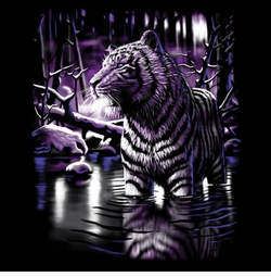 SALE! Black Shimmering Tiger in Lake Plus Size & Supersize T-Shirts S M L XL 2x 3x 4x 5x 6x 7x 8x